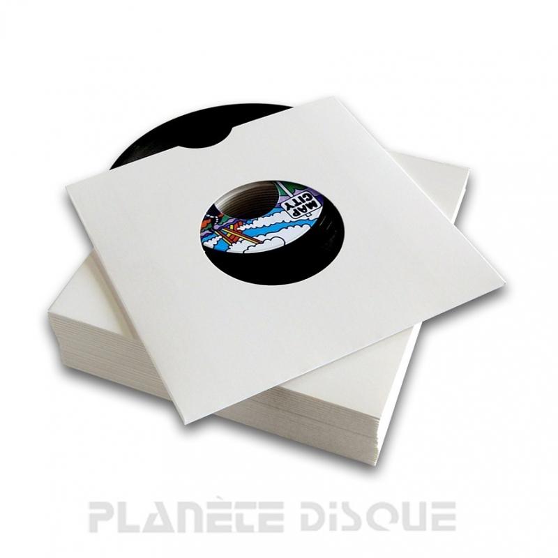 25 Pochettes carton avec trou 45T blanches