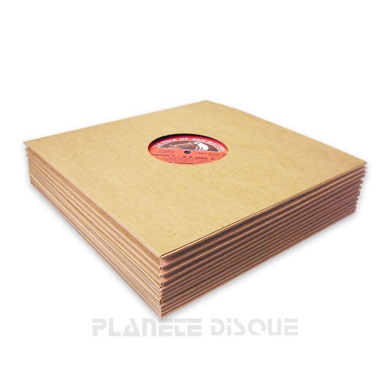 25 Platenhoezen bruin karton met klein venster 25 cm / 10 inch