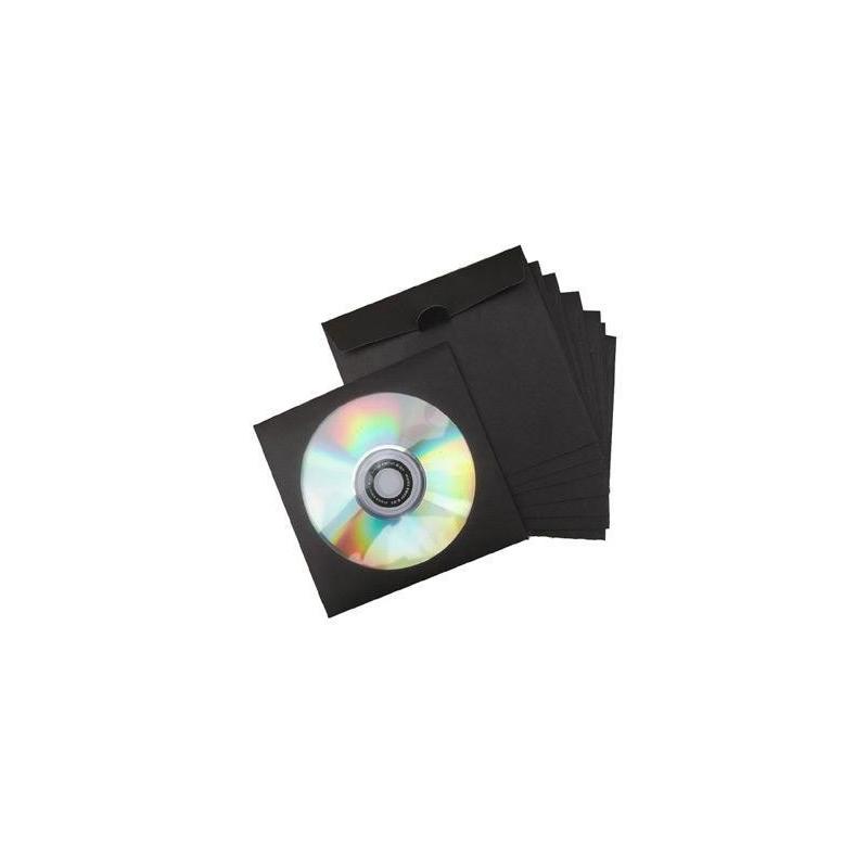 100 Pochettes papier noir avec fenêtre et rabat pour CD