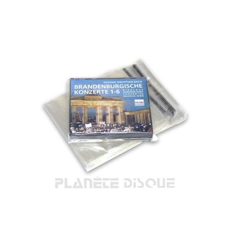 100 Pochettes boîtier double CD PP refermables