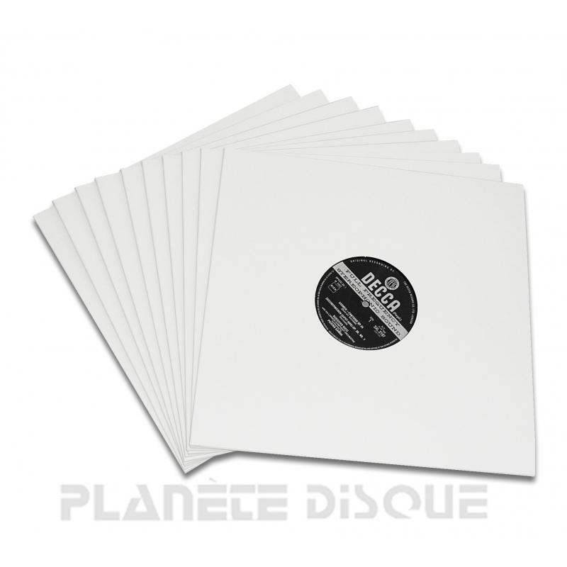 25 Pochettes carton avec trou 33T blanches