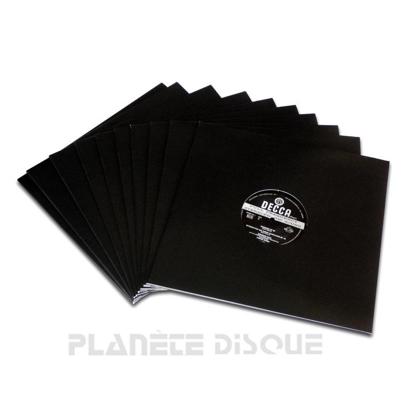 25 Pochettes carton avec trou 33T noires