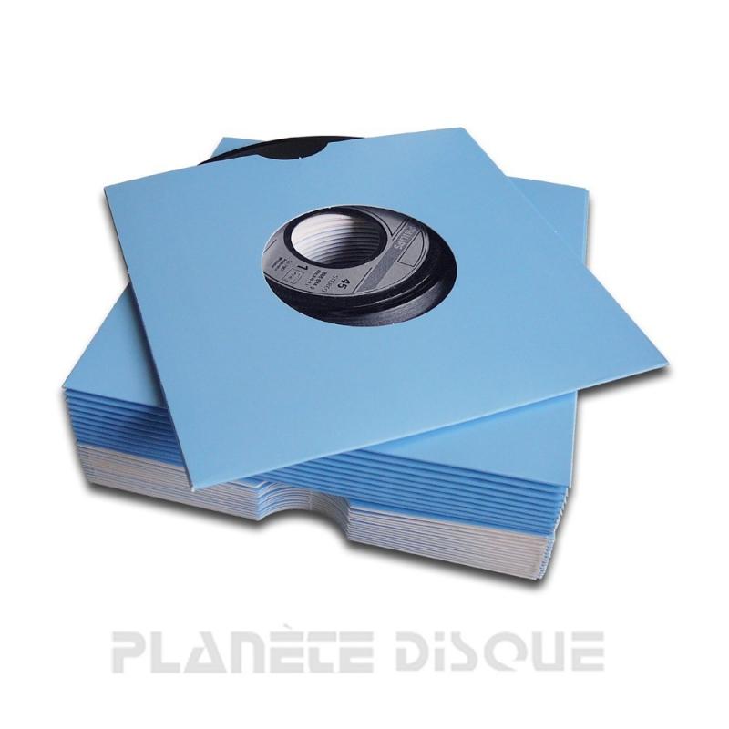 25 Pochettes carton avec trou 45T bleues