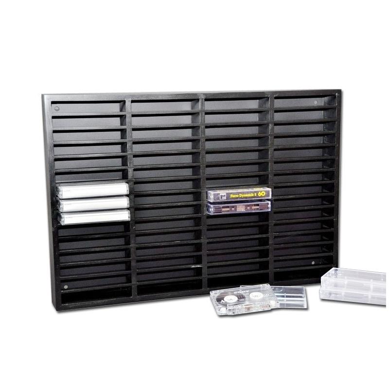 Etagère noire en bois pour 60 K7 cassettes