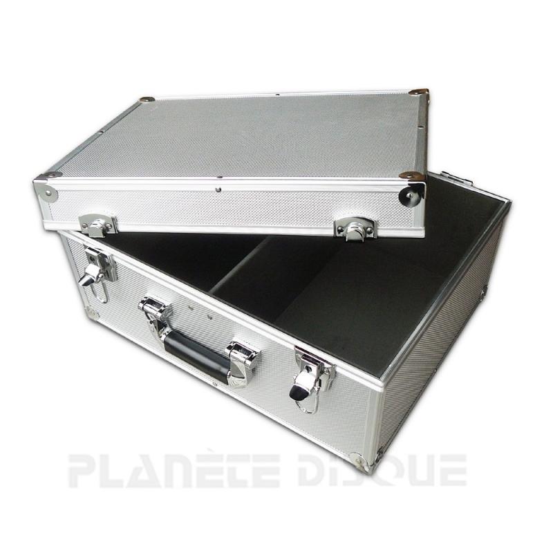 Koffer flight case voor 200 singles zilver