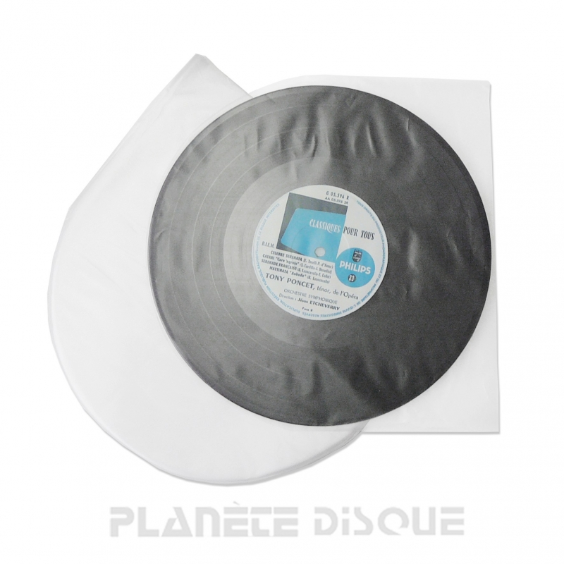 100 Sous-pochettes coins arrondis 25 cm / 78T