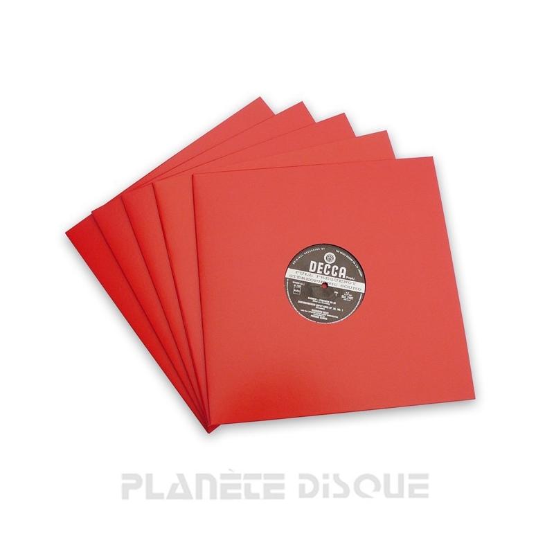 10 LP platenhoezen rood karton met venster