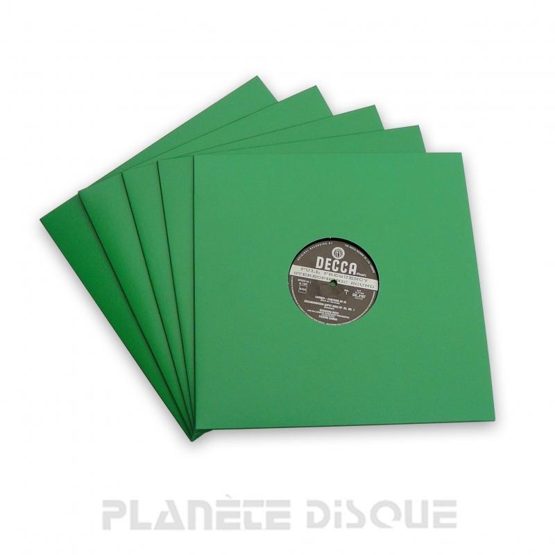 10 Pochettes carton avec trou 33T vertes