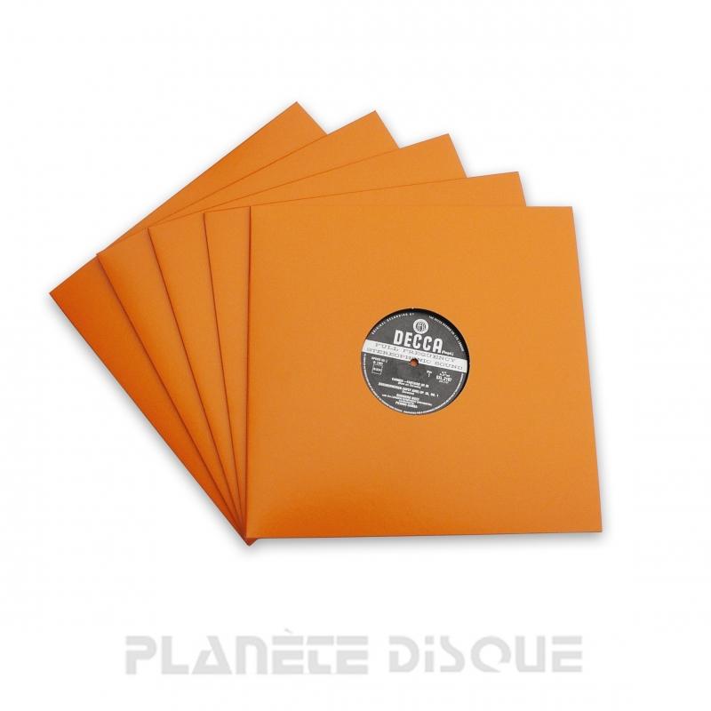 10 Pochettes carton avec trou 33T oranges