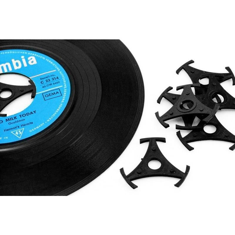 Centreur adaptateur en plastique noir pour singles 45T
