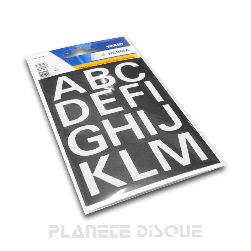 Étiquettes lettres blanches A à Z 25 mm