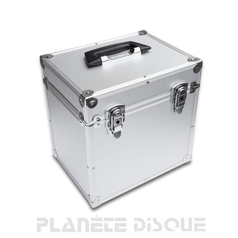 Valise aluminium argent pour 50 disques vinyles 78T/25CM