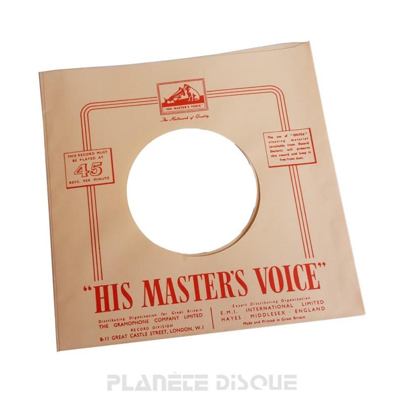 Hoes papier voor 45 toeren single (imitatie HMV No 2)