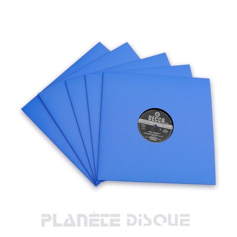 10 Pochettes carton avec trou 33T bleues