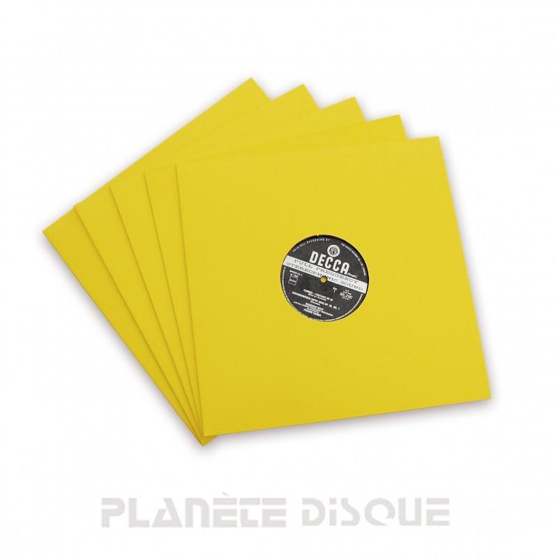 10 Pochettes carton avec trou 33T jaunes