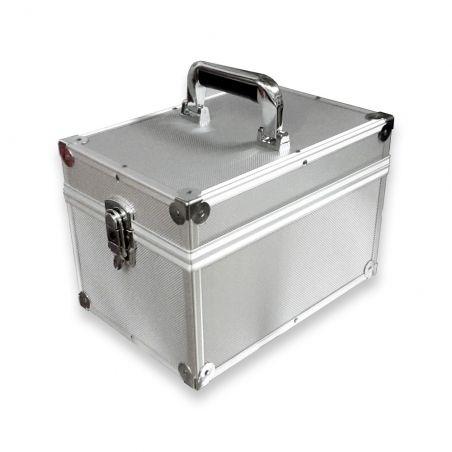 Koffer flight case voor 100 singles zilver