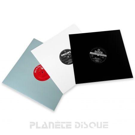 25 LP platenhoezen wit, zwart en grijs karton met venster