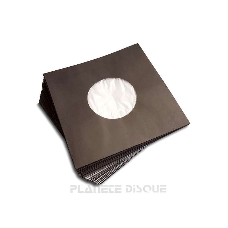100 Pochettes vinyle 45T noires doublées avec trou