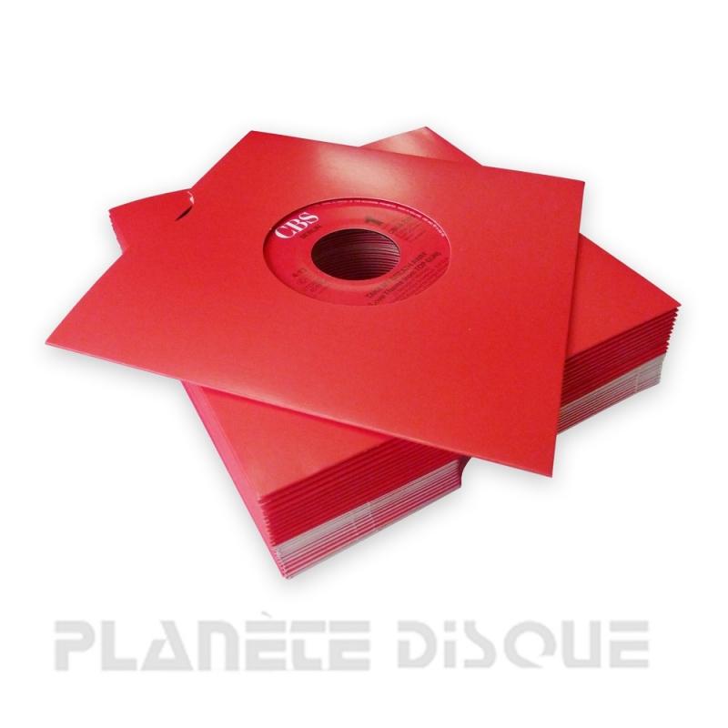 25 Pochettes carton avec trou 45T rouges