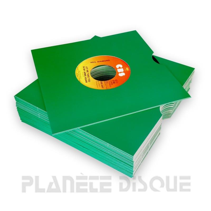 25 Pochettes carton avec trou 45T vertes