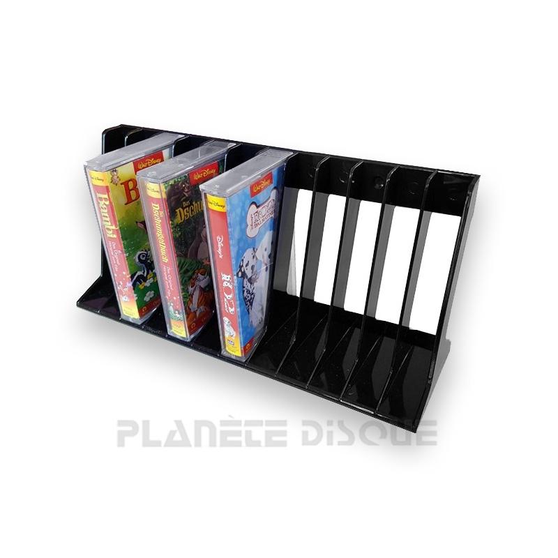 Plastic rek voor 12 cassettes zwart