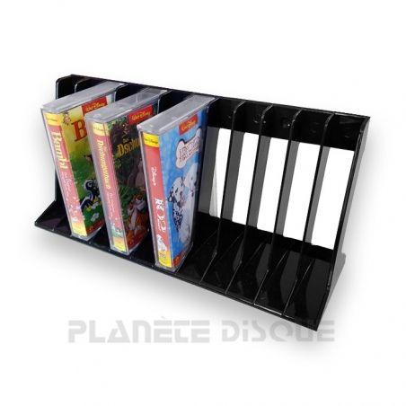 Support en plastique noir pour 12 K7 cassettes