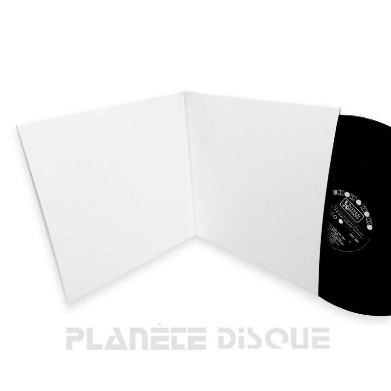 10 Pochettes doubles carton sans trou 33T blanches Deluxe