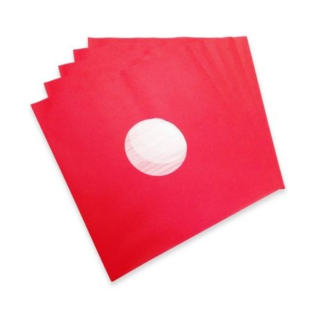 100 Deluxe LP binnen hoezen met kunststof voering rood
