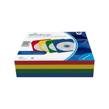 100 Pochettes papier 4 couleurs avec fenêtre et rabat pour CD