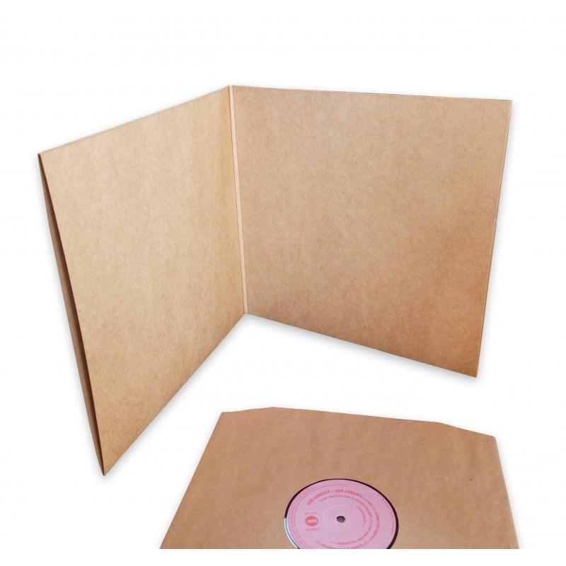10 Pochettes doubles carton sans trou 33T noires Deluxe