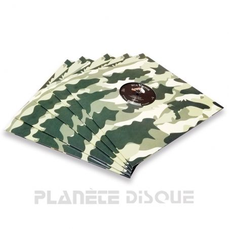 10 LP platenhoezen karton camouflage met venster