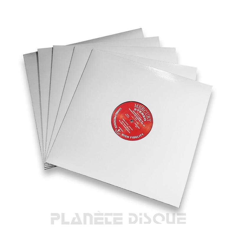 10 Pochettes carton avec trou 33T gris argenté