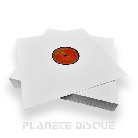 25 Pochettes carton avec trou 25 CM / 78T blanches dos pincé
