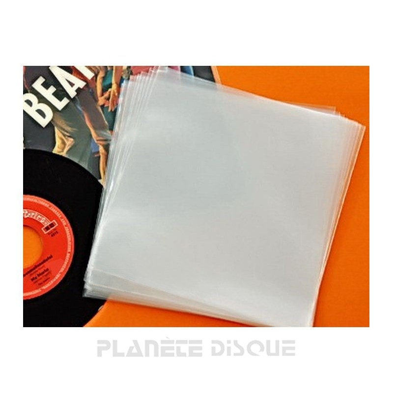 100 Pochettes protection vinyle 45T 150 microns PE