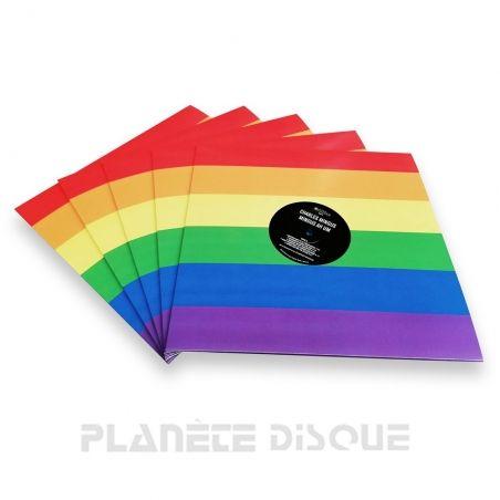 10 LP platenhoezen regenboog met venster