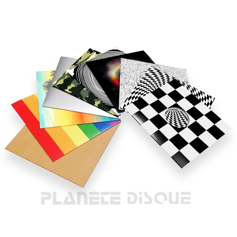 10 Pochettes carton avec trou 33T panache des motifs