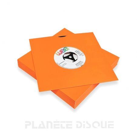 25 Pochettes carton avec trou 45T oranges