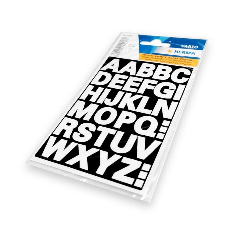 Zelfklevende letters wit 15 mm voor dividers