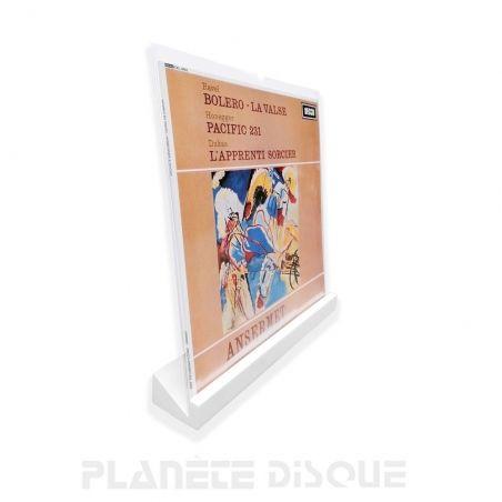 Support mural en bois blanc pour un disque vinyle