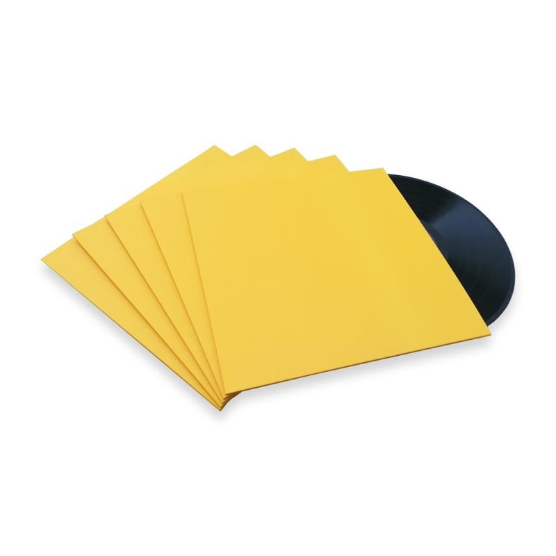 10 LP platenhoezen geel karton zonder venster