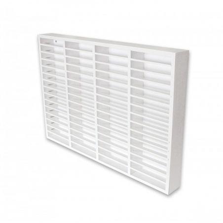 Etagère blanche en bois pour 60 K7 cassettes