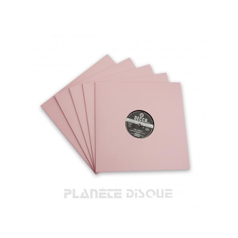 10 Pochettes carton avec trou 33T roses