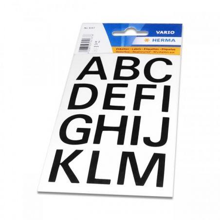 Étiquettes lettres noires A à Z 25 mm